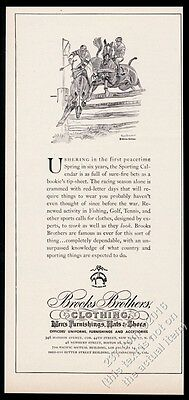1946 Brooks Brothers clothes Paul Brown steeplechase horse art vintage print ad