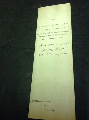 Old Cheshire Document, 1910, Mow Cop, Castle Inn , Mary Lea, Malam, Abstract....