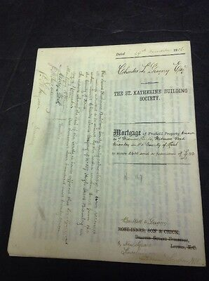 Old Kent Document, Bromley, Widmore Road, 1916,C. Gregory , Mortgage....