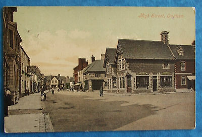 Postcard POSTED 1909 HIGH STREET OAKHAM RUTLAND/LEICESTERSHIRE