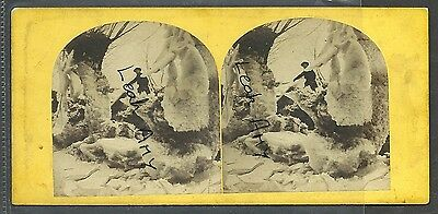 Original Early Stereoview Of Snow Scene On The River Avon.