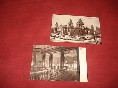 VINTAGE NORTHERN IRELAND: BELFAST City Hall and Landing  X2 RP sepia BAIRD