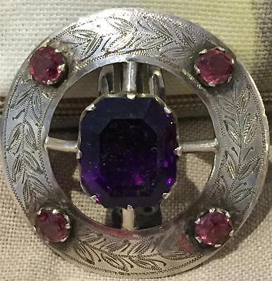 Stunning Scottish Silver Metal & Amethyst Dress Clip