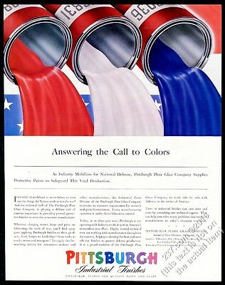 1942 red white blue paint cans flowing art Pittsburgh Paints vintage print ad