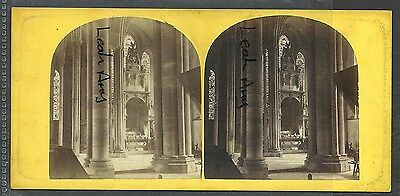 Original Early Stereoview Of Salisbury Cathedral, Interior View.