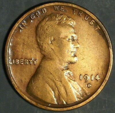 1914-D  Lincoln Wheat Cent Grade Xf  *as Pictured*   Inv 316