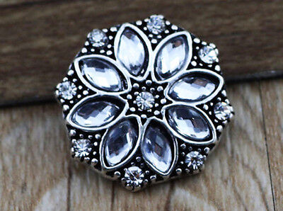 3D Rhinestone Drill Snaps Chunk Charm Button Fit For  Leather Bracelets W22