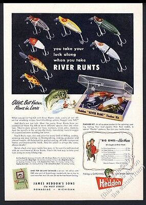 1956 Heddon River Runts fishing lure 7 styles photo vintage print ad