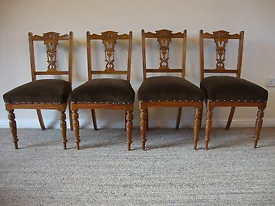 Antique Edwardian Carved Dining Chairs  Set of 4