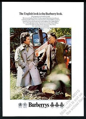 1975 Burberry man's 21 trench coat Lord Lichfield photo vintage print ad