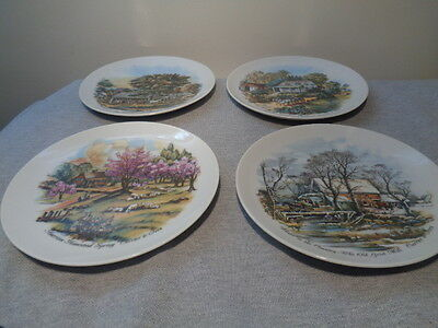 """4 Collector Plates Currier and Ives 4 seasons, 6 ¼"""" Made in Japan"""