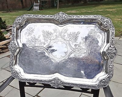 Huge Antique Aesthetic Acanthus Decor French Export Sterling 916 Silver Tray,25""