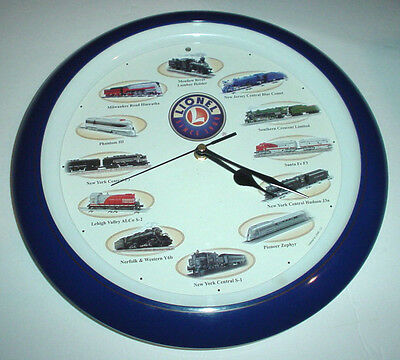"""Vintage LIONEL TRAINS Wall Clock 13.5"""" 12 Different Locomotive Sounds Works Well"""