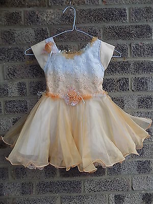 LITTLE GIRLS CHILDS 80S VINTAGE orange & white ombre prom bridesmaid party dress