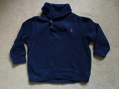 POLO BY RALPH LAUREN Boys 100% Cotton Jumper In Navy Age 2yrs