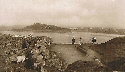 St. Ives - Carthew Rocks & Island -  Sheep & People - Real Photo Posted 1931