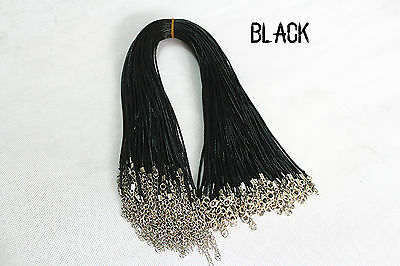 black 10pc Wax line Chains Necklace Charms Findings String Cord 1.5mm DIY Metal