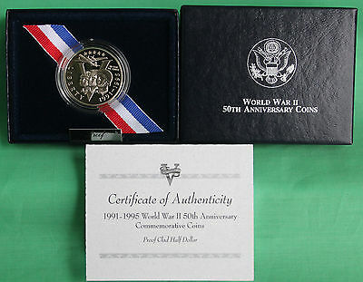 1991-1995 WW2 50th Anniversary 1993-P Proof World War II Half Dollar Coin Set