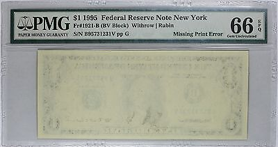 1995 $1 New York FRN, First Print Missing, PMG 66 EPQ, Fr#1921-B