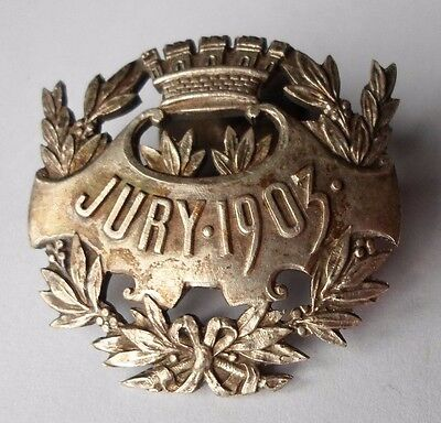 1903 JURY BUTTON HOLE BADGE EXPOSITION / FAIR / SPORT INSIGNIA by MASSONNET