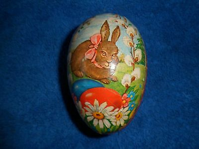 Antique Easter Egg Made In West Germany Rabbit W/ Colored Eggs Very Nice
