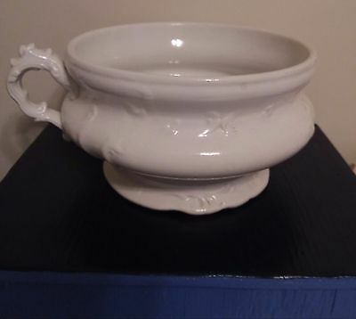 Antique Crown Warranted Porcelain Chamber Pot w Decorative Scrolled Handle