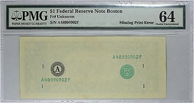 Error Note $1 Boston FRN, Second Print Missing, PMG 64, Fr# Unknown