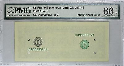 Error Note $1 Cleveland FRN, Second Print Missing, PMG 66 EPQ, Fr# Unknown