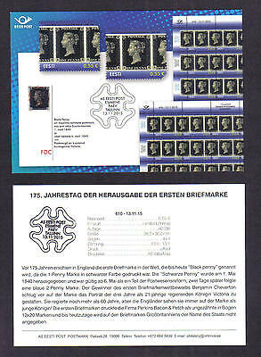 2015 Germany~~175th Penny Black ANNIVERSARY~~ FDC -SOUVENIR CARD **See descrip.