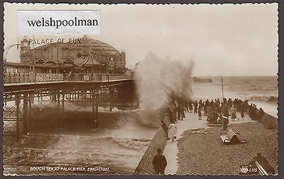 Lovely Vintage 1958 Rough Sea At Palace Pier Brighton Sussex Postcard