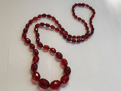 Fabulous Vintage Bakelite Faceted Graduated Beads Necklace 30 Inches Long