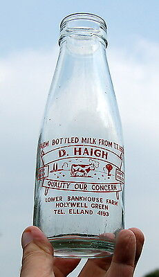 milk bottle : nice old Haigh of Holywell Green : dairy