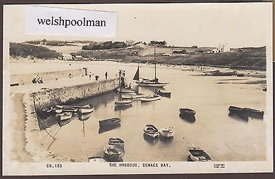 Vintage 1940/50's Boats In The Harbour Cemaes Bay Anglesey North Wales Postcard