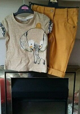 Next baby girls mustard elephant outfit set 3-6months