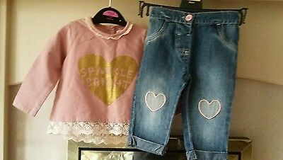 Miniclub baby girls 2 piece outfit set jumper and jeans 3-6months