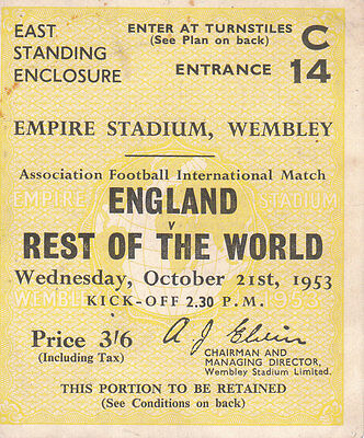ENGLAND v REST OF THE WORLD 21/10/1953
