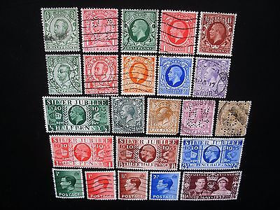 Great Britain-1911/37 Collection, 23 Different Stamps Used NH