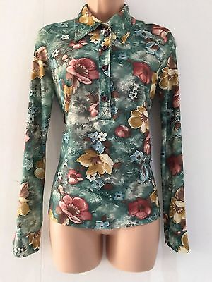 Vintage 80's Retro Green & Dusky Pink Floral Print Long Sleeve Shirt Size 10