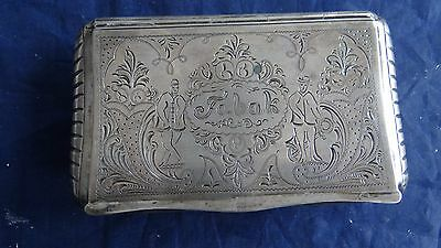 Rare Antique Continental 1870 Dutch Silver Engraved Tobacco Box