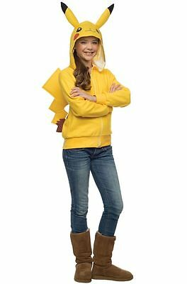 POKEMON PIKACHU NOVELITY TWEEN HOODIE WITH ATTACHED TAIL Halloween Cosplay B11