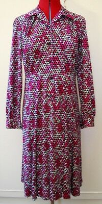 Vintage 1980's Pink, Black & White Printed Shirt-waister Dress UK Size 12-14