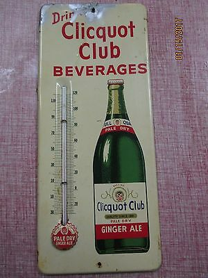 CLICQUOT CLUB Beverages Soda Thermometer Sign~