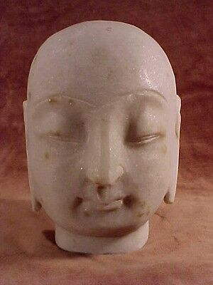 """Large White Marble Bald Buddha Head 6"""" Tall Hand Carved Stone Quan Yin Bust #Y-8"""