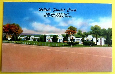 Weller's Tourist Court Motel Chattanooga Tennessee Vintage Linen Postcard