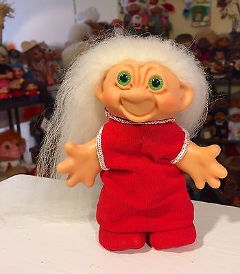 """1960's Scandia House 5"""" Girl Troll - All Original With Spiral Eyes And Fur Wig"""