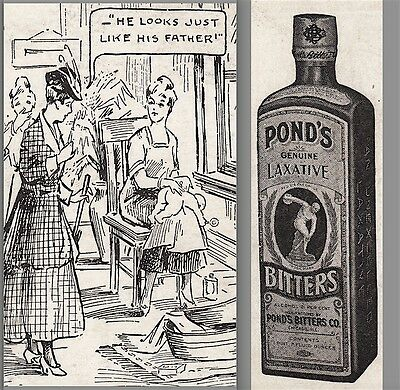Ponds Laxative Stomach Bitters Rye Ginger Brandy Cure Baby Butt Comic Trade Card