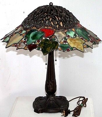 Antique Heavy Stained Glass Table Lamp. *unique Vines On Top. Tiffany Handel Era