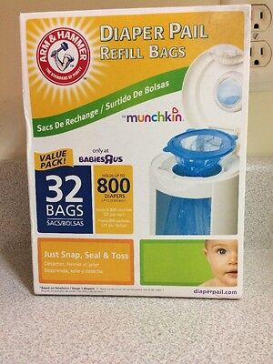 NEW Arm & Hammer Diaper Pail Refills 32 Pack bags by Munchkin Babies r us