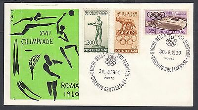 ITALY 1960 THREE ROME OLYMPICS SPORTS FIRST DAY COVERS FDCs COMMEMORATIVE CANCEL