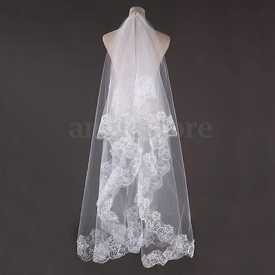 1 T 3M Bridal Wedding Long Veil Cathedral Elegant Lace Applique Edge Floor US